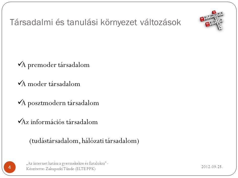 Társadalmi és tanulási környezet változások 2012.09.25.