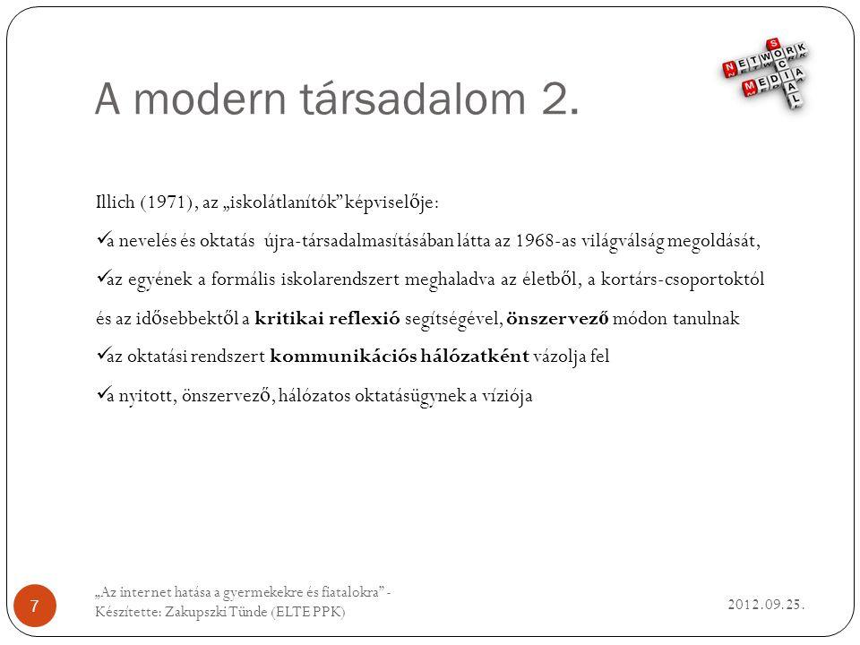A modern társadalom 2. 2012.09.25.