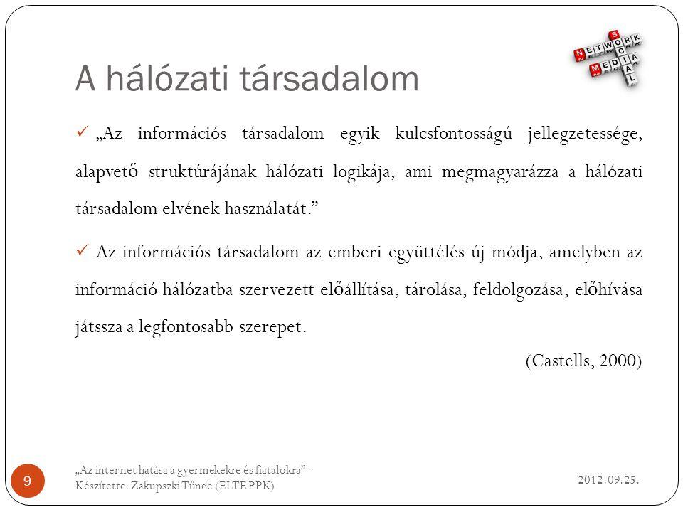 A hálózati társadalom 2012.09.25.