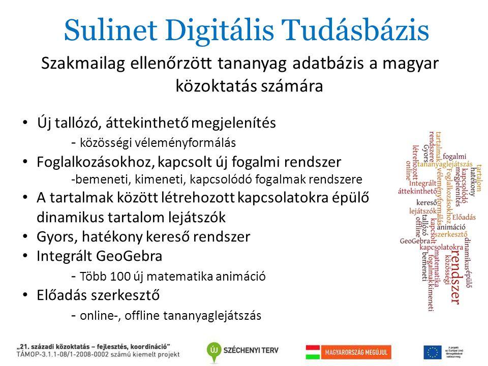 Sulinet Digitális Tudásbázis Szakmailag ellenőrzött tananyag adatbázis a magyar közoktatás számára Új tallózó, áttekinthető megjelenítés - közösségi v