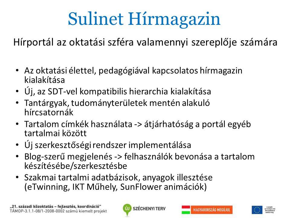 Sulinet Hírmagazin Az oktatási élettel, pedagógiával kapcsolatos hírmagazin kialakítása Új, az SDT-vel kompatibilis hierarchia kialakítása Tantárgyak,
