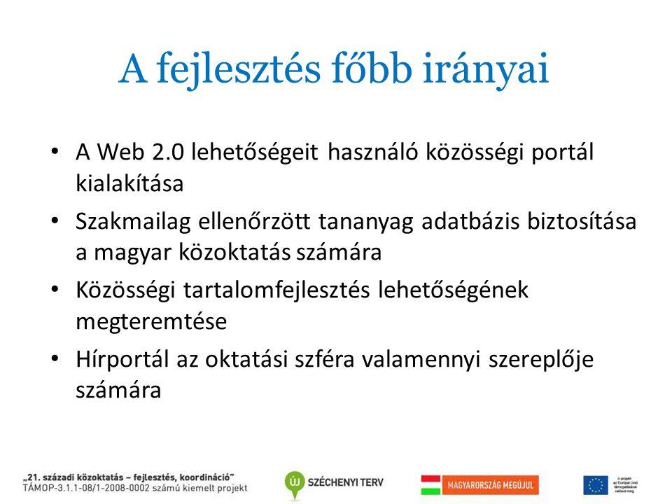 A fejlesztés főbb irányai A Web 2.0 lehetőségeit használó közösségi portál kialakítása Szakmailag ellenőrzött tananyag adatbázis biztosítása a magyar