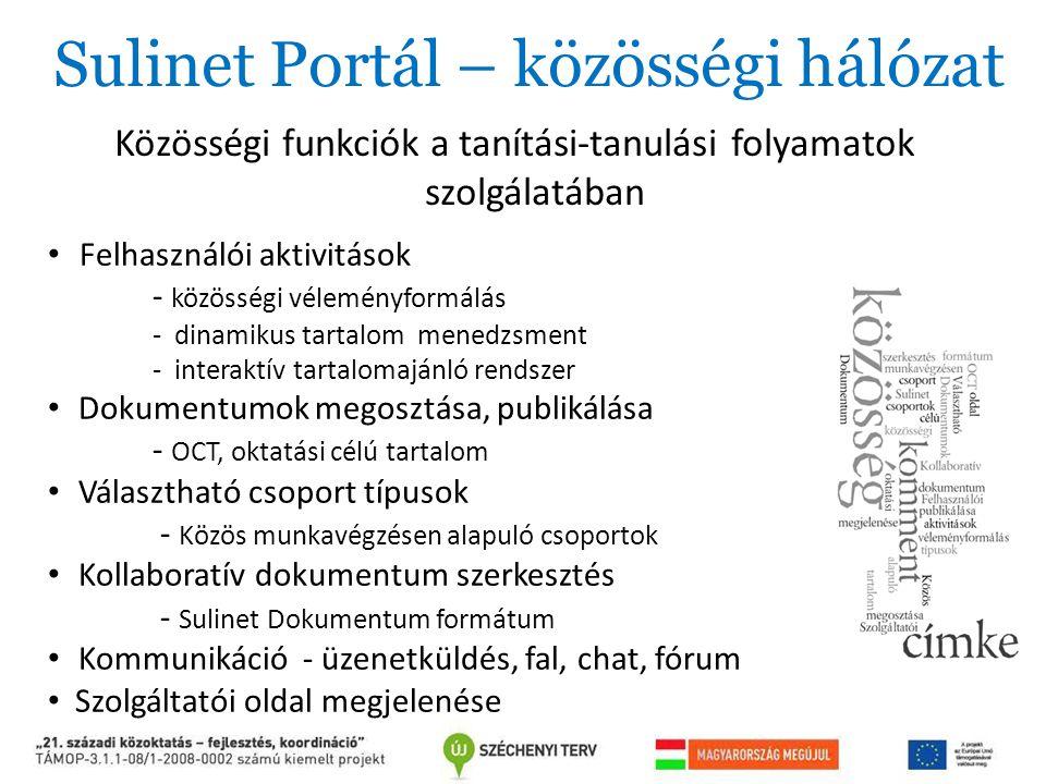 Sulinet Portál – közösségi hálózat Közösségi funkciók a tanítási-tanulási folyamatok szolgálatában Felhasználói aktivitások - közösségi véleményformál