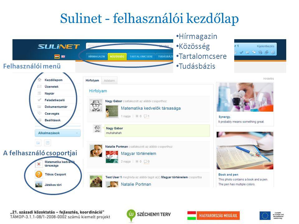 Sulinet - felhasználói kezdőlap Hírmagazin Közösség Tartalomcsere Tudásbázis Felhasználói menü A felhasználó csoportjai