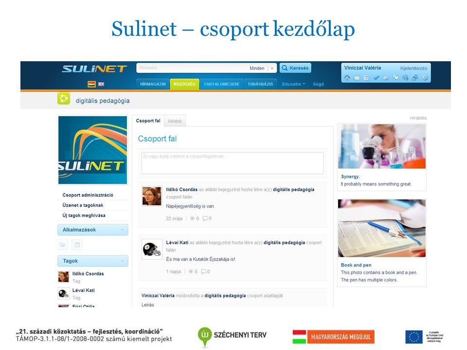 Sulinet – csoport kezdőlap