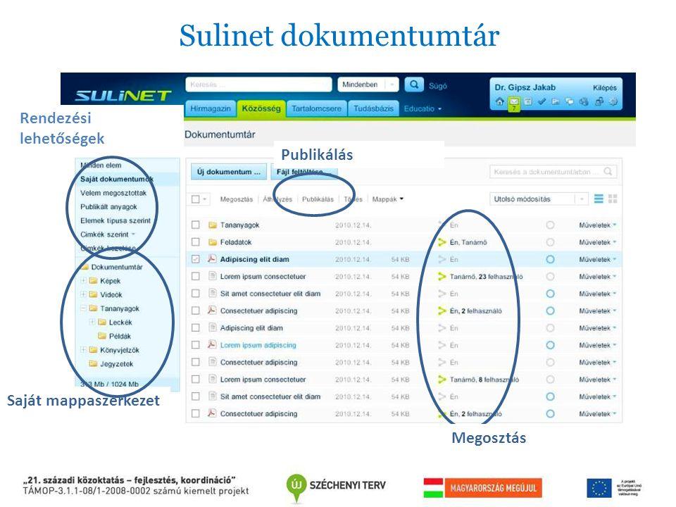 Rendezési lehetőségek Saját mappaszerkezet Publikálás Sulinet dokumentumtár Megosztás