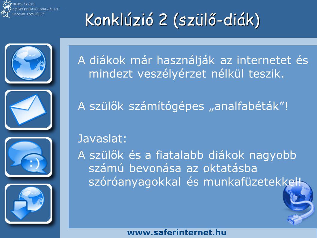 """www.saferinternet.hu Konklúzió 2 (szülő-diák) A diákok már használják az internetet és mindezt veszélyérzet nélkül teszik. A szülők számítógépes """"anal"""
