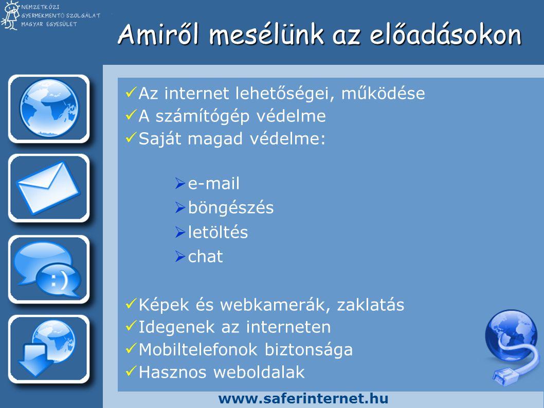 www.saferinternet.hu Amiről mesélünk az előadásokon Az internet lehetőségei, működése A számítógép védelme Saját magad védelme:  e-mail  böngészés  letöltés  chat Képek és webkamerák, zaklatás Idegenek az interneten Mobiltelefonok biztonsága Hasznos weboldalak