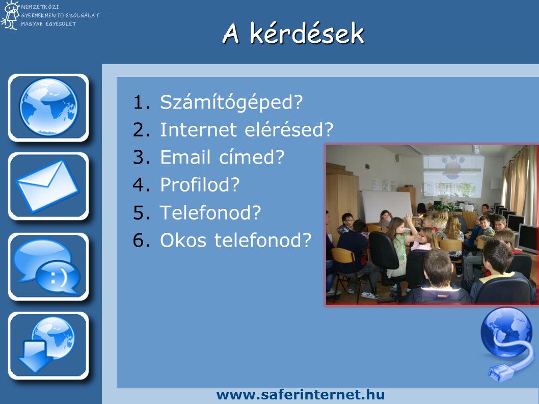 www.saferinternet.hu A kérdések 1.Számítógéped? 2.Internet elérésed? 3.Email címed? 4.Profilod? 5.Telefonod? 6.Okos telefonod?