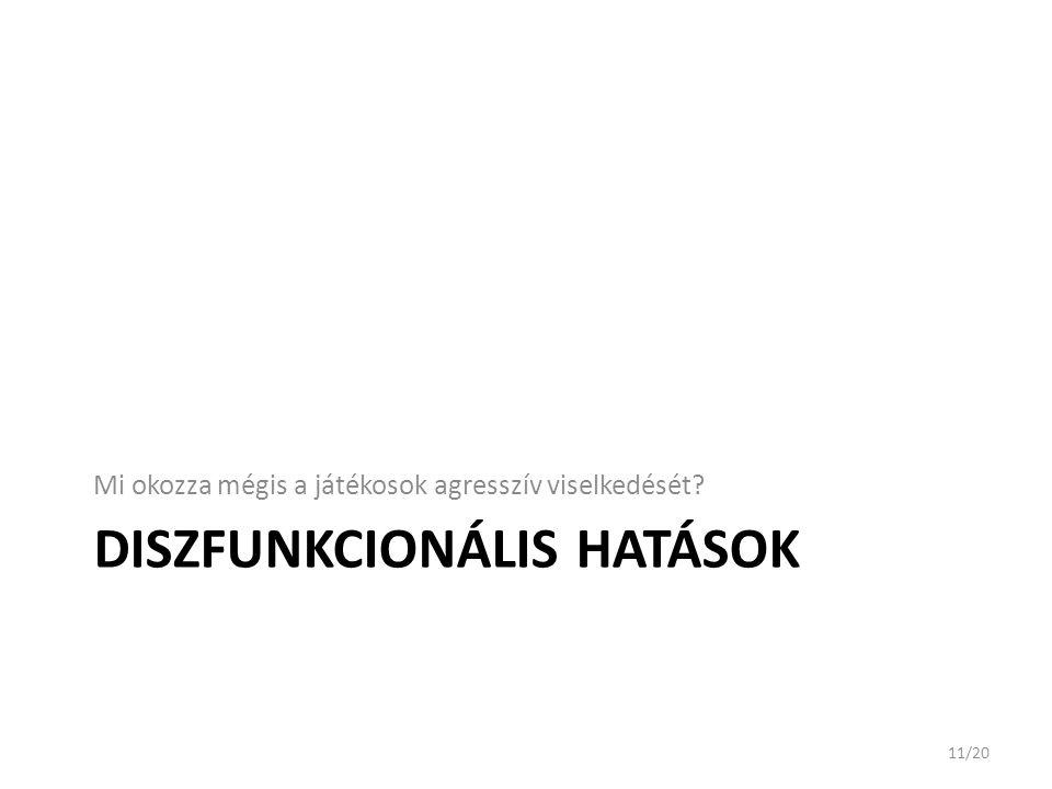 DISZFUNKCIONÁLIS HATÁSOK Mi okozza mégis a játékosok agresszív viselkedését? 11/20