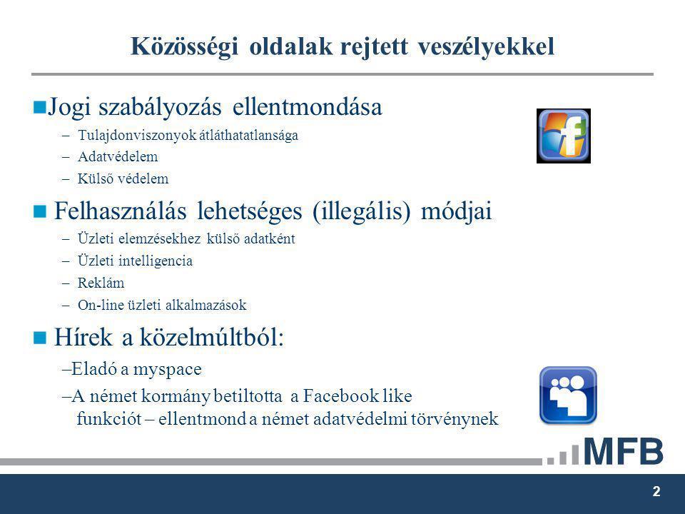 2 Közösségi oldalak rejtett veszélyekkel Jogi szabályozás ellentmondása – Tulajdonviszonyok átláthatatlansága – Adatvédelem – Külső védelem Felhasználás lehetséges (illegális) módjai – Üzleti elemzésekhez külső adatként – Üzleti intelligencia – Reklám – On-line üzleti alkalmazások Hírek a közelmúltból: –Eladó a myspace –A német kormány betiltotta a Facebook like funkciót – ellentmond a német adatvédelmi törvénynek