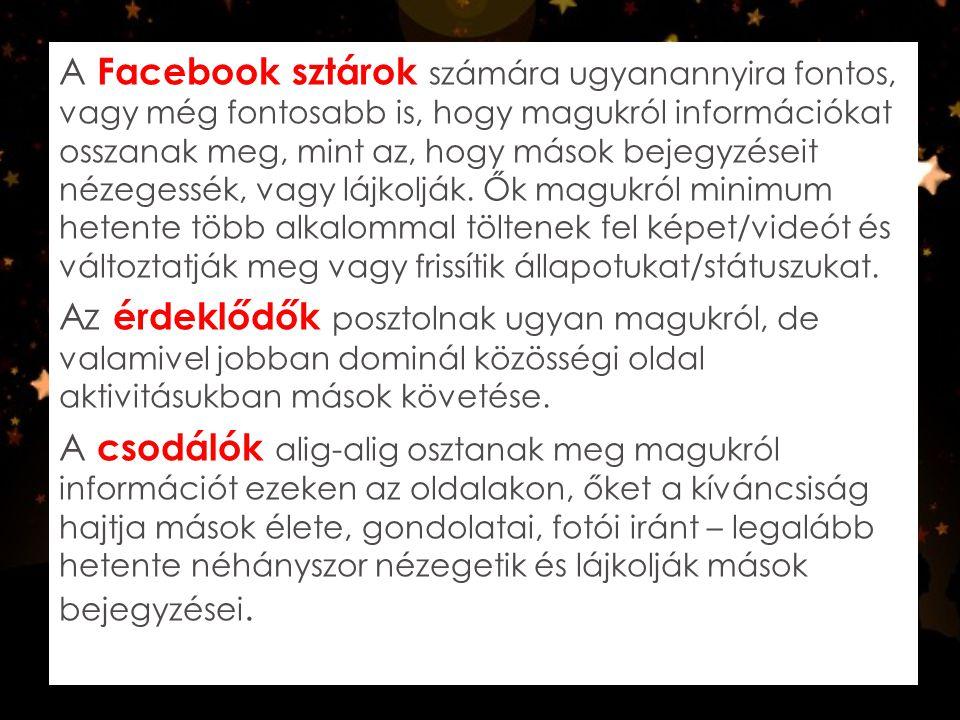 A Facebook sztárok számára ugyanannyira fontos, vagy még fontosabb is, hogy magukról információkat osszanak meg, mint az, hogy mások bejegyzéseit néze