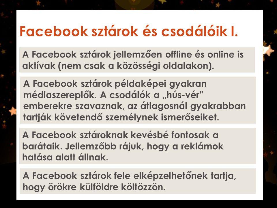 Facebook sztárok és csodálóik I. A Facebook sztárok jellemzően offline és online is aktívak (nem csak a közösségi oldalakon). A Facebook sztárok példa