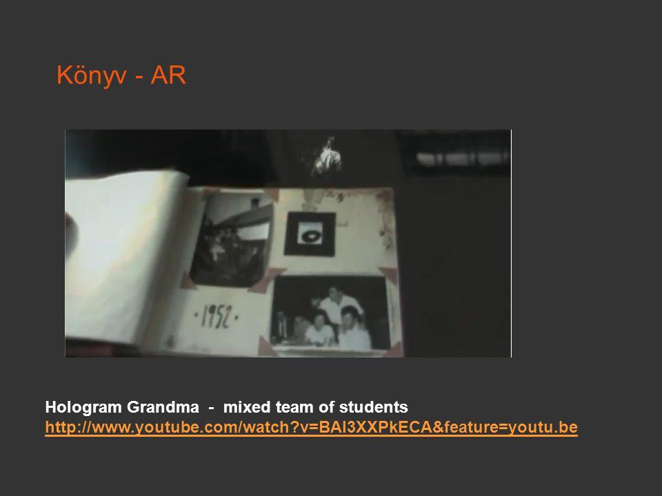 Könyv - AR Hologram Grandma - mixed team of students http://www.youtube.com/watch?v=BAl3XXPkECA&feature=youtu.be