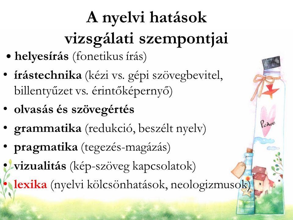 A nyelvi hatások vizsgálati szempontjai helyesírás (fonetikus írás) írástechnika (kézi vs. gépi szövegbevitel, billentyűzet vs. érintőképernyő) olvasá