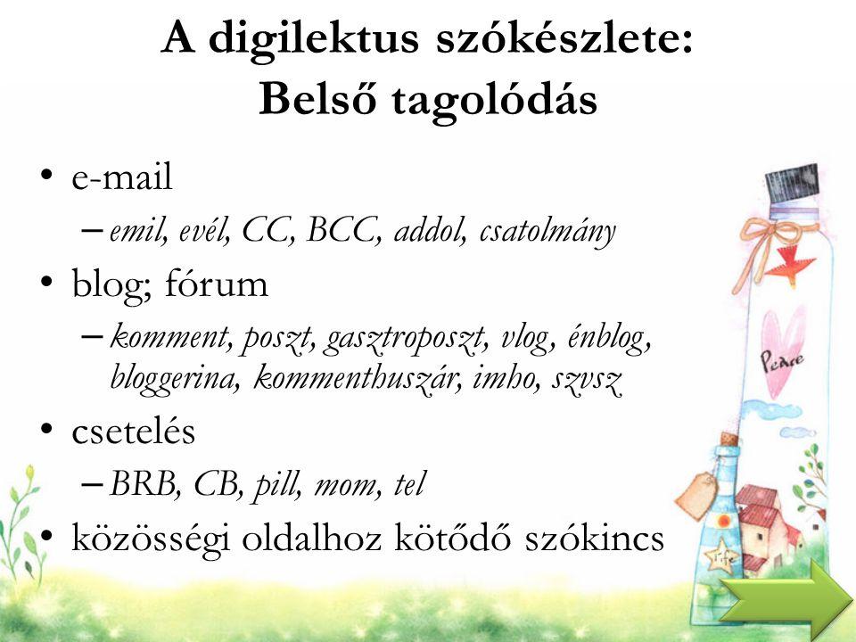 A digilektus szókészlete: Belső tagolódás e-mail – emil, evél, CC, BCC, addol, csatolmány blog; fórum – komment, poszt, gasztroposzt, vlog, énblog, bl