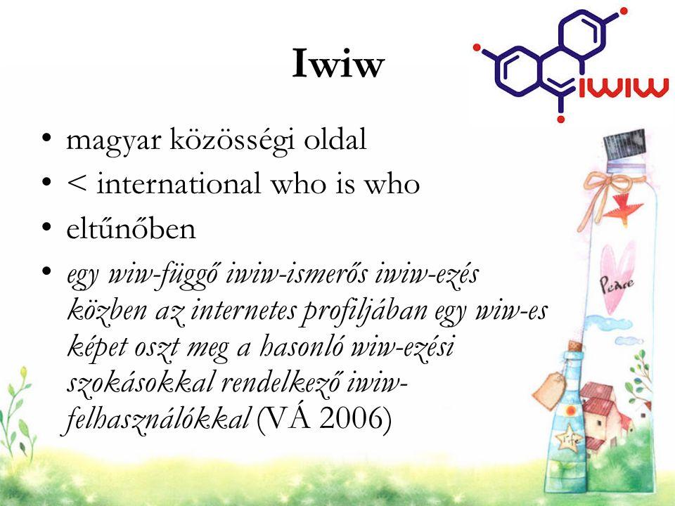 Iwiw magyar közösségi oldal < international who is who eltűnőben egy wiw-függő iwiw-ismerős iwiw-ezés közben az internetes profiljában egy wiw-es képe
