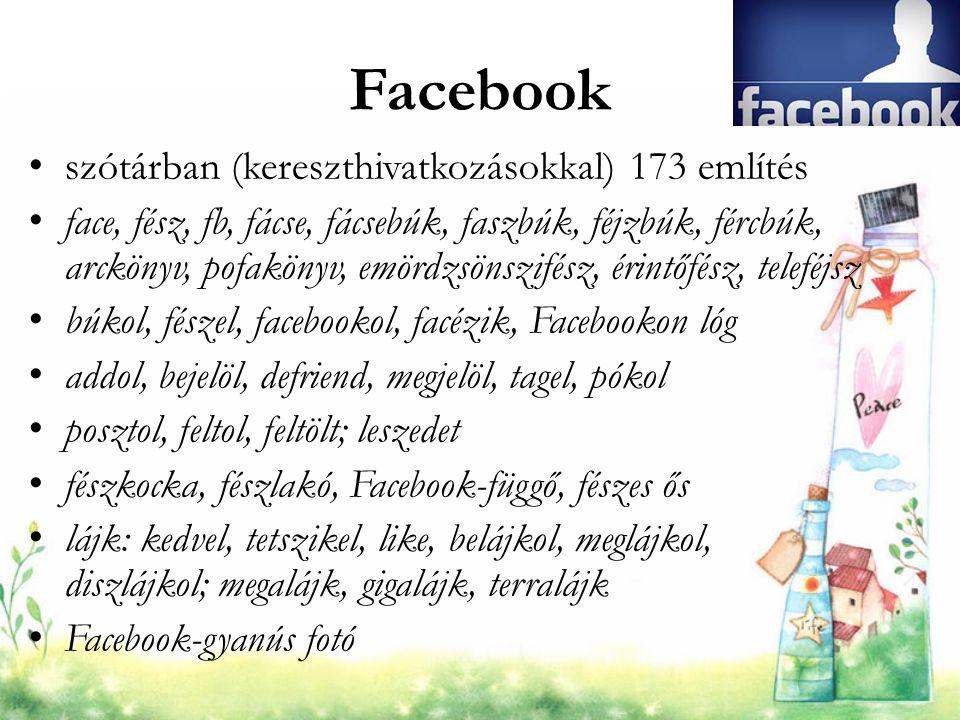 Facebook szótárban (kereszthivatkozásokkal) 173 említés face, fész, fb, fácse, fácsebúk, faszbúk, féjzbúk, fércbúk, arckönyv, pofakönyv, emördzsönszif
