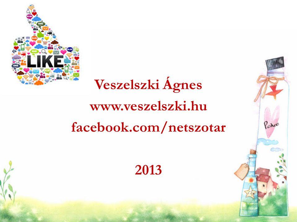 Veszelszki Ágnes www.veszelszki.hu facebook.com/netszotar 2013