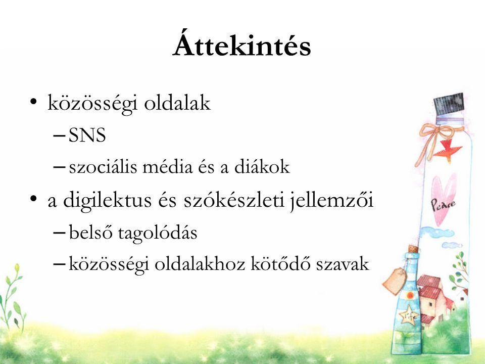 Áttekintés közösségi oldalak – SNS – szociális média és a diákok a digilektus és szókészleti jellemzői – belső tagolódás – közösségi oldalakhoz kötődő