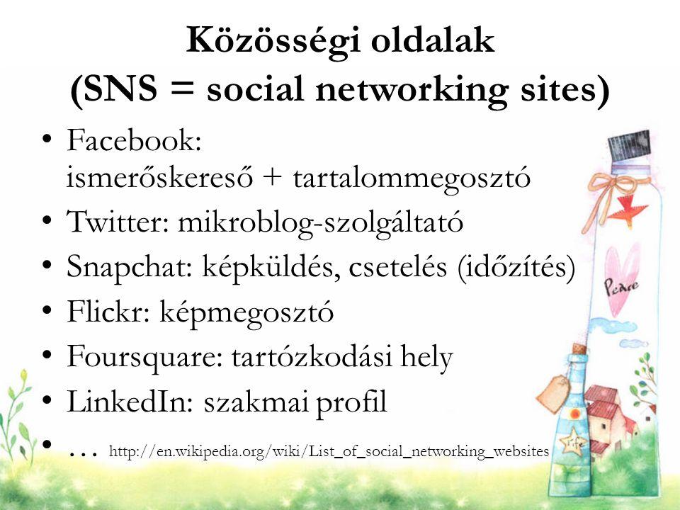 Közösségi oldalak (SNS = social networking sites) Facebook: ismerőskereső + tartalommegosztó Twitter: mikroblog-szolgáltató Snapchat: képküldés, csete