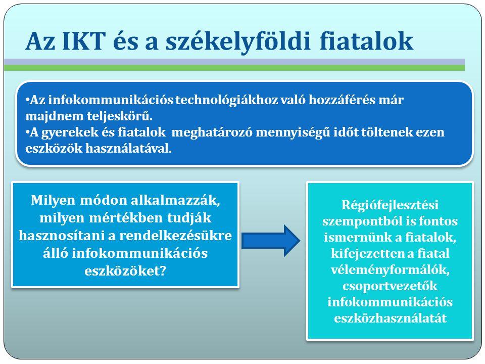 Az IKT és a székelyföldi fiatalok Az infokommunikációs technológiákhoz való hozzáférés már majdnem teljeskörű. A gyerekek és fiatalok meghatározó menn