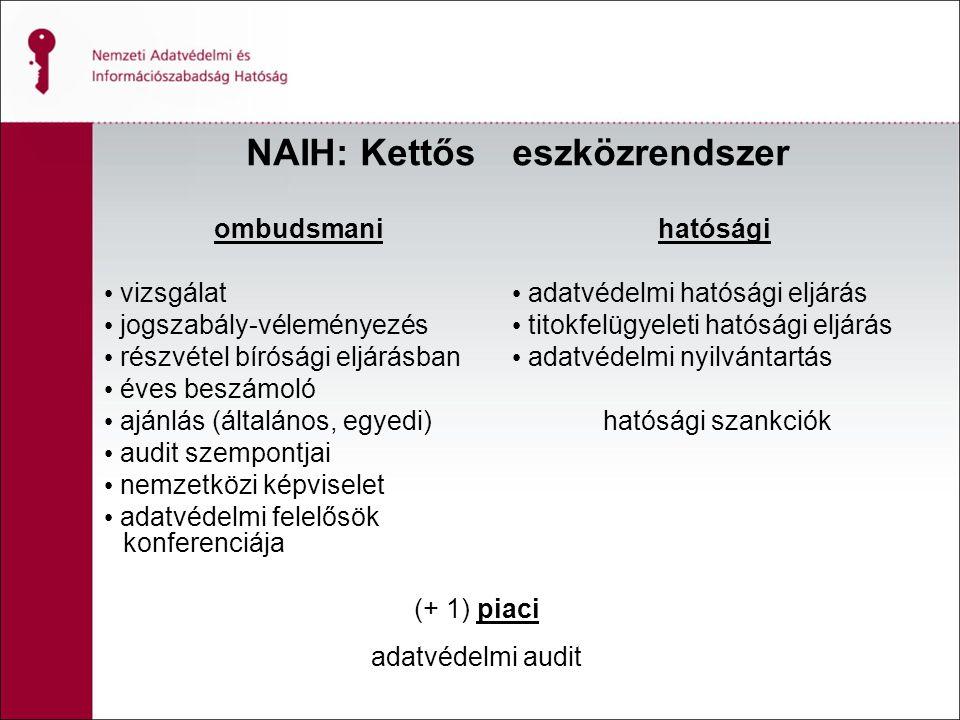NAIH: Kettős ombudsmani vizsgálat jogszabály-véleményezés részvétel bírósági eljárásban éves beszámoló ajánlás (általános, egyedi) audit szempontjai nemzetközi képviselet adatvédelmi felelősök konferenciája eszközrendszer hatósági adatvédelmi hatósági eljárás titokfelügyeleti hatósági eljárás adatvédelmi nyilvántartás hatósági szankciók (+ 1) piaci adatvédelmi audit