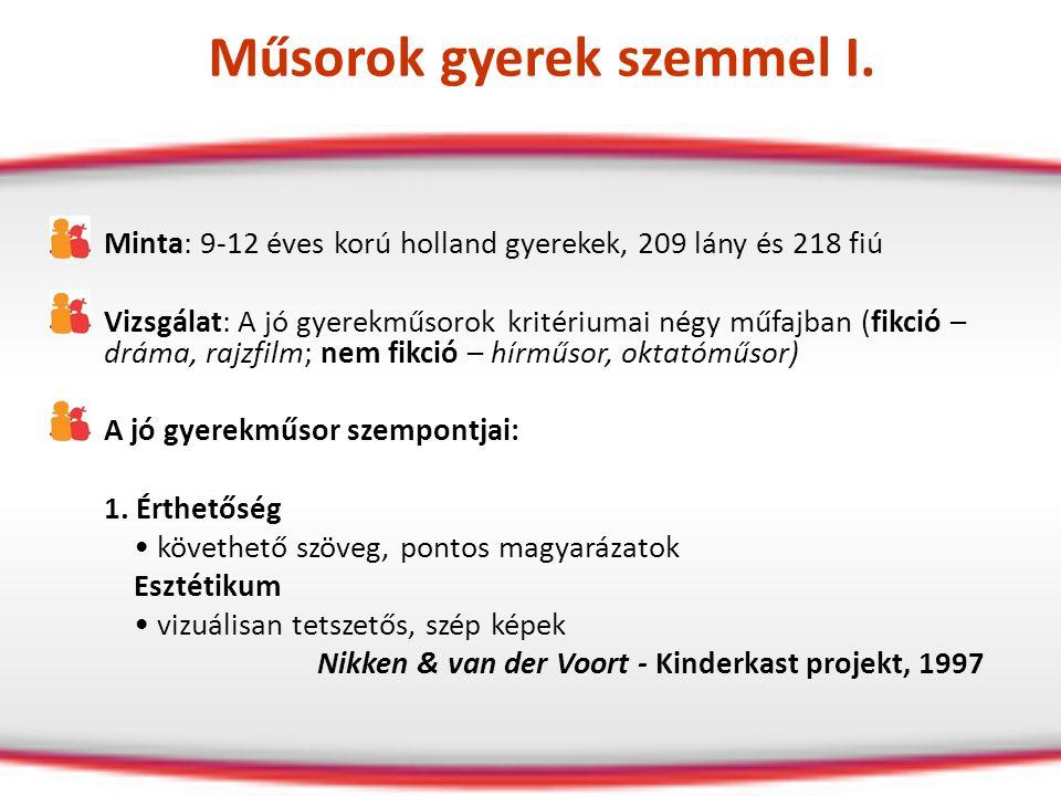 Műsorok gyerek szemmel I. Minta: 9-12 éves korú holland gyerekek, 209 lány és 218 fiú Vizsgálat: A jó gyerekműsorok kritériumai négy műfajban (fikció