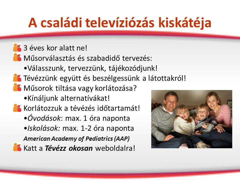 A családi televíziózás kiskátéja 3 éves kor alatt ne! Műsorválasztás és szabadidő tervezés: Válasszunk, tervezzünk, tájékozódjunk! Tévézzünk együtt és