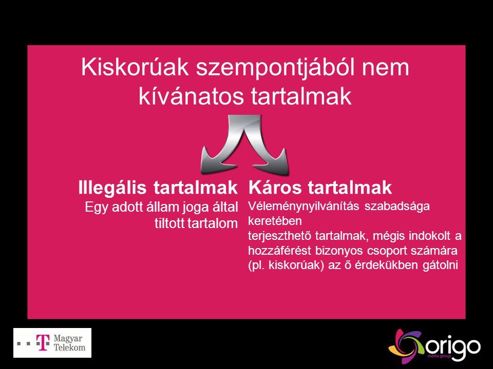 Kiskorúak szempontjából nem kívánatos tartalmak Illegális tartalmak Egy adott állam joga által tiltott tartalom Káros tartalmak Véleménynyilvánítás szabadsága keretében terjeszthető tartalmak, mégis indokolt a hozzáférést bizonyos csoport számára (pl.
