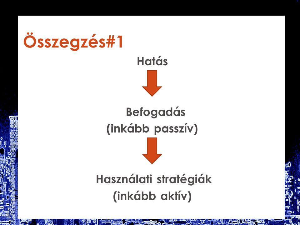 Összegzés#1 Hatás Befogadás (inkább passzív) Használati stratégiák (inkább aktív)