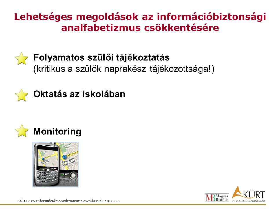 KÜRT Zrt. Információmenedzsment www.kurt.hu © 2012 Lehetséges megoldások az információbiztonsági analfabetizmus csökkentésére Folyamatos szülői tájéko