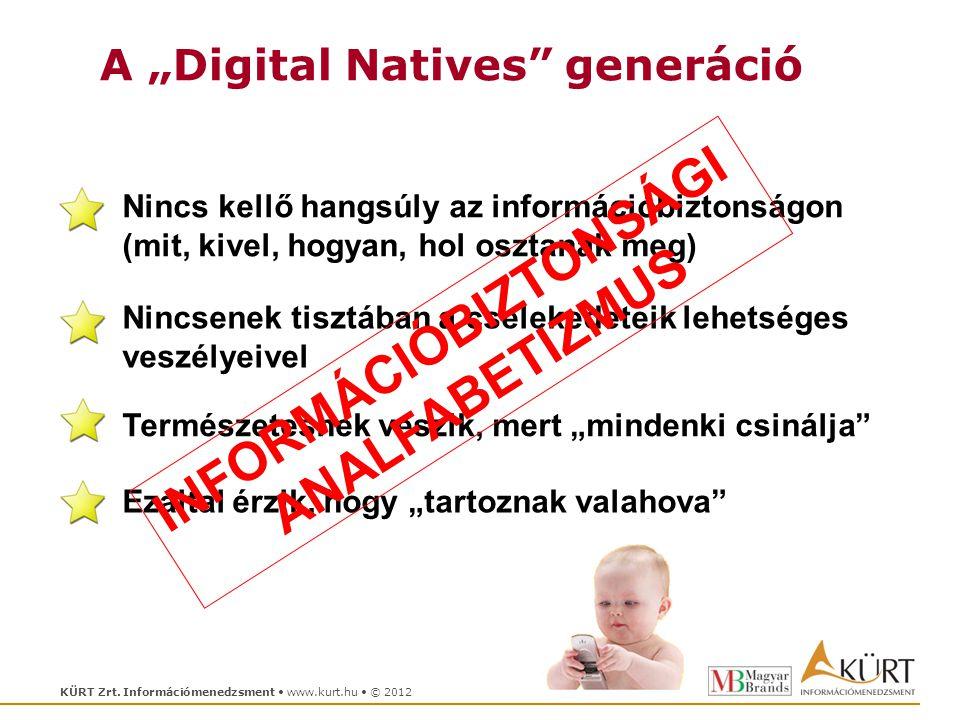 """KÜRT Zrt. Információmenedzsment www.kurt.hu © 2012 A """"Digital Natives"""" generáció Nincs kellő hangsúly az információbiztonságon (mit, kivel, hogyan, ho"""