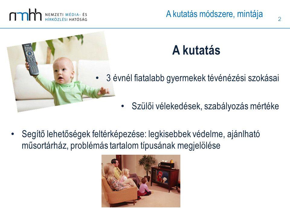 2 3 évnél fiatalabb gyermekek tévénézési szokásai Szülői vélekedések, szabályozás mértéke Segítő lehetőségek feltérképezése: legkisebbek védelme, aján