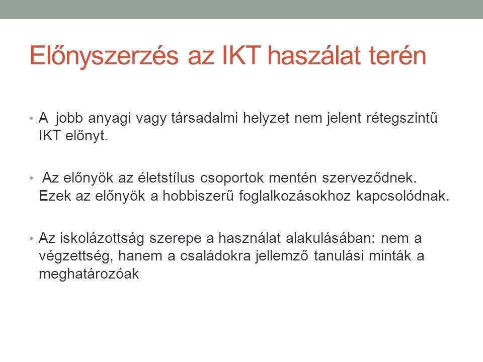 Előnyszerzés az IKT haszálat terén A jobb anyagi vagy társadalmi helyzet nem jelent rétegszintű IKT előnyt.