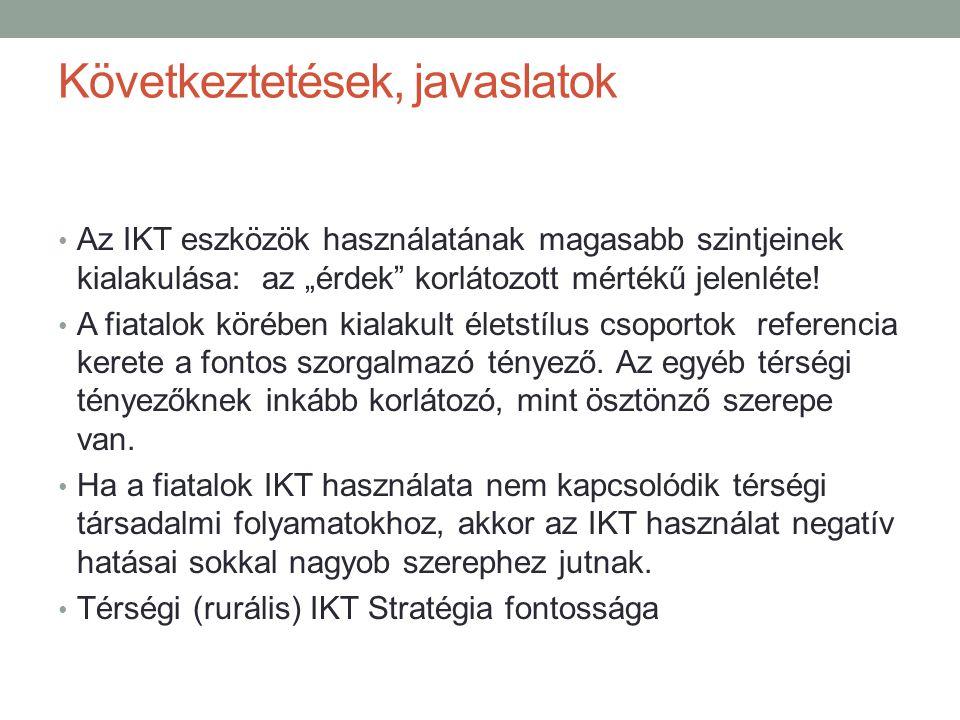 """Következtetések, javaslatok Az IKT eszközök használatának magasabb szintjeinek kialakulása: az """"érdek"""" korlátozott mértékű jelenléte! A fiatalok köréb"""