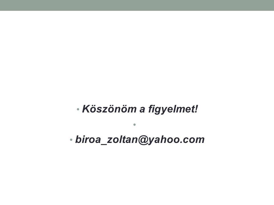 Köszönöm a figyelmet! biroa_zoltan@yahoo.com
