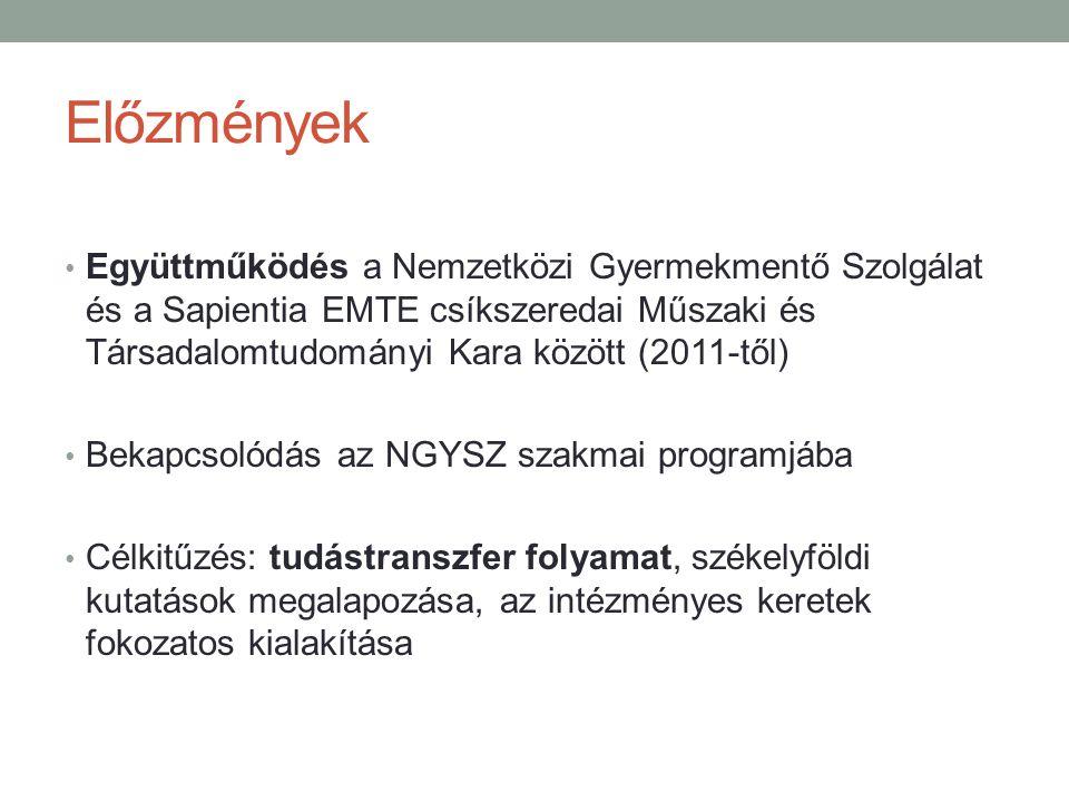 Előzmények Együttműködés a Nemzetközi Gyermekmentő Szolgálat és a Sapientia EMTE csíkszeredai Műszaki és Társadalomtudományi Kara között (2011-től) Bekapcsolódás az NGYSZ szakmai programjába Célkitűzés: tudástranszfer folyamat, székelyföldi kutatások megalapozása, az intézményes keretek fokozatos kialakítása