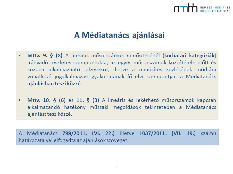 A Médiatanács ajánlásai Mttv. 9. § (8) A lineáris műsorszámok minősítésénél (korhatári kategóriák) irányadó részletes szempontokra, az egyes műsorszám