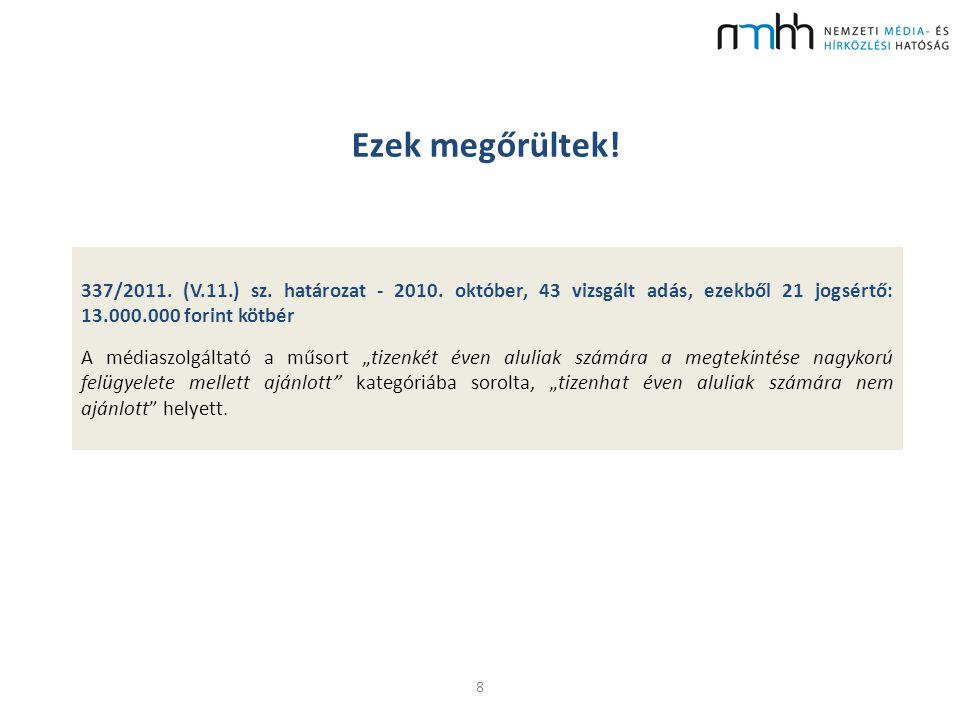 Ezek megőrültek! 8 337/2011. (V.11.) sz. határozat - 2010. október, 43 vizsgált adás, ezekből 21 jogsértő: 13.000.000 forint kötbér A médiaszolgáltató