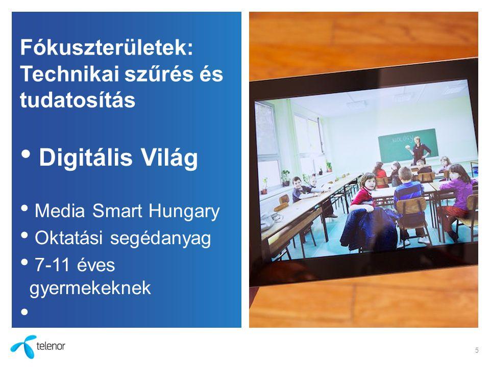 Fókuszterületek: Technikai szűrés és tudatosítás Digitális Világ Media Smart Hungary Oktatási segédanyag 7-11 éves gyermekeknek 5