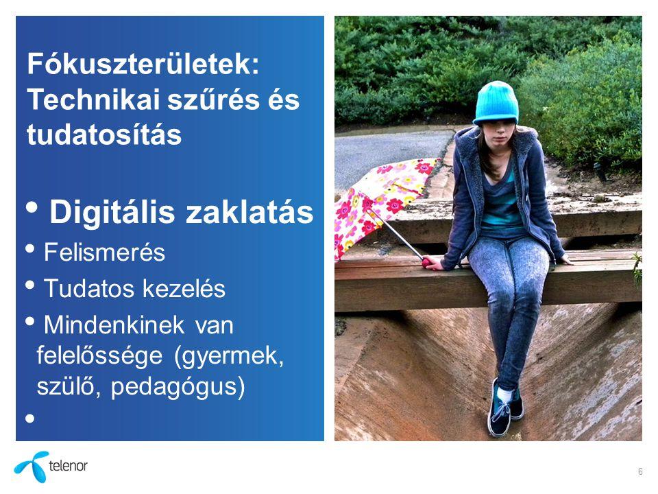 Fókuszterületek: Technikai szűrés és tudatosítás Digitális zaklatás Felismerés Tudatos kezelés Mindenkinek van felelőssége (gyermek, szülő, pedagógus)