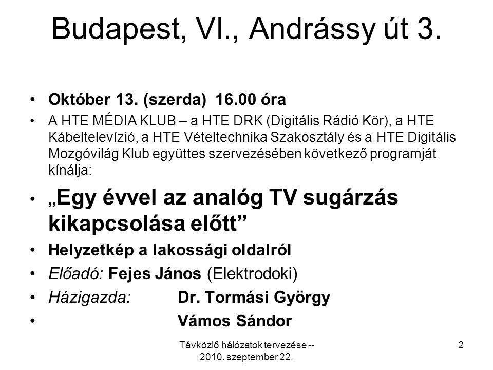 Budapest, VI., Andrássy út 3. Október 13. (szerda) 16.00 óra A HTE MÉDIA KLUB – a HTE DRK (Digitális Rádió Kör), a HTE Kábeltelevízió, a HTE Vételtech