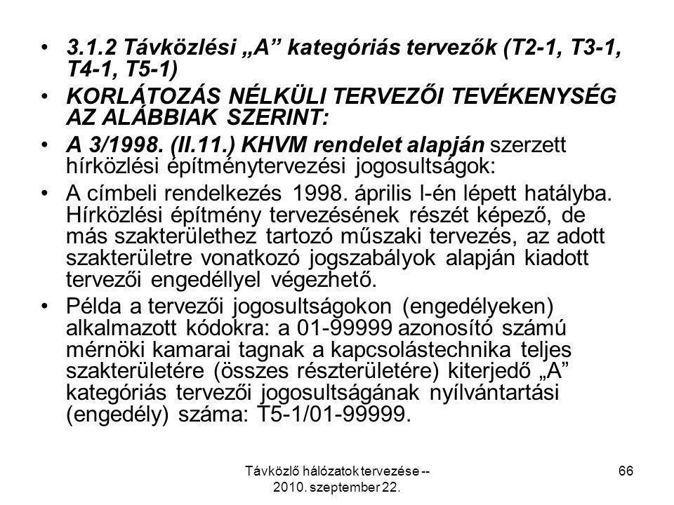 """Távközlő hálózatok tervezése -- 2010. szeptember 22. 66 3.1.2 Távközlési """"A"""" kategóriás tervezők (T2-1, T3-1, T4-1, T5-1) KORLÁTOZÁS NÉLKÜLI TERVEZŐI"""