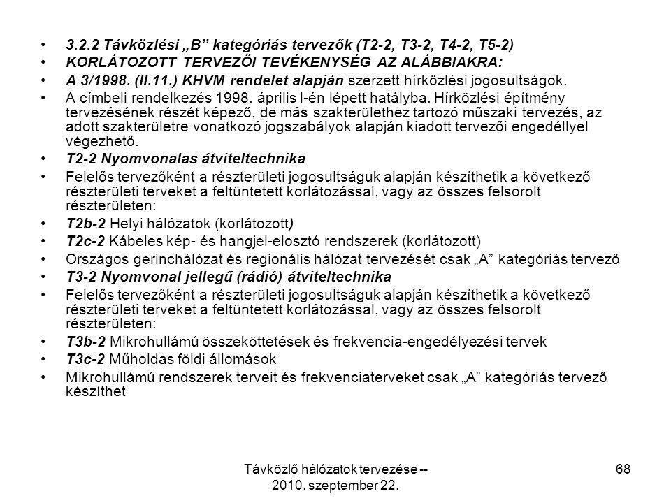 """Távközlő hálózatok tervezése -- 2010. szeptember 22. 68 3.2.2 Távközlési """"B"""" kategóriás tervezők (T2-2, T3-2, T4-2, T5-2) KORLÁTOZOTT TERVEZŐI TEVÉKEN"""