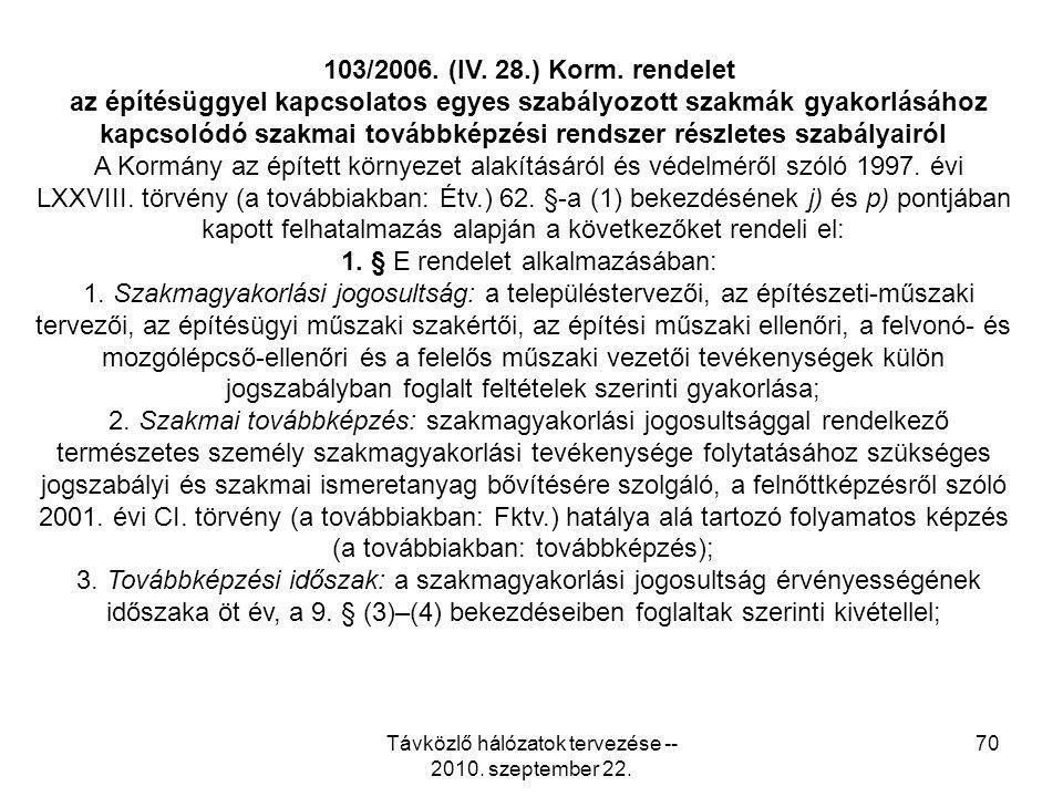 Távközlő hálózatok tervezése -- 2010. szeptember 22. 70 103/2006. (IV. 28.) Korm. rendelet az építésüggyel kapcsolatos egyes szabályozott szakmák gyak