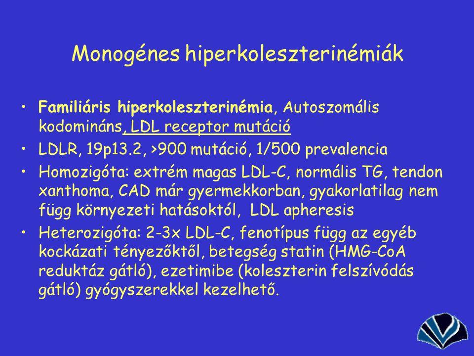 38 Monogénes hiperkoleszterinémiák Familiáris hiperkoleszterinémia, Autoszomális kodomináns, LDL receptor mutáció LDLR, 19p13.2, >900 mutáció, 1/500 prevalencia Homozigóta: extrém magas LDL-C, normális TG, tendon xanthoma, CAD már gyermekkorban, gyakorlatilag nem függ környezeti hatásoktól, LDL apheresis Heterozigóta: 2-3x LDL-C, fenotípus függ az egyéb kockázati tényezőktől, betegség statin (HMG-CoA reduktáz gátló), ezetimibe (koleszterin felszívódás gátló) gyógyszerekkel kezelhető.