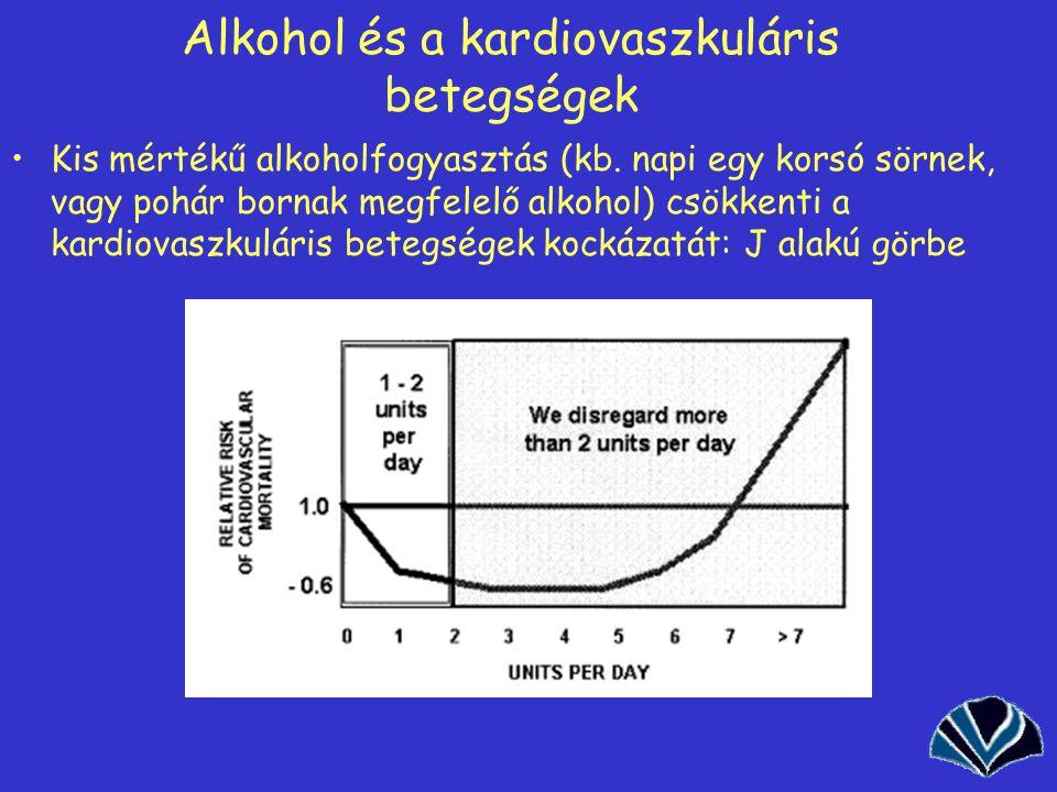 40 Alkohol és a kardiovaszkuláris betegségek Kis mértékű alkoholfogyasztás (kb.