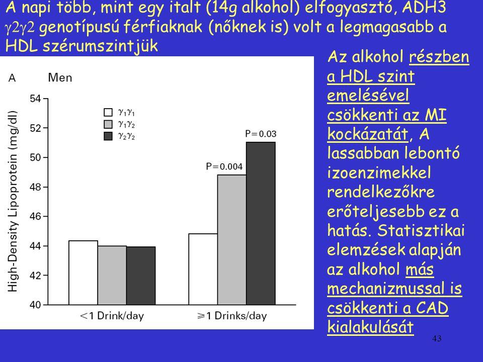 43 A napi több, mint egy italt (14g alkohol) elfogyasztó, ADH3  genotípusú férfiaknak (nőknek is) volt a legmagasabb a HDL szérumszintjük Az alkohol részben a HDL szint emelésével csökkenti az MI kockázatát, A lassabban lebontó izoenzimekkel rendelkezőkre erőteljesebb ez a hatás.