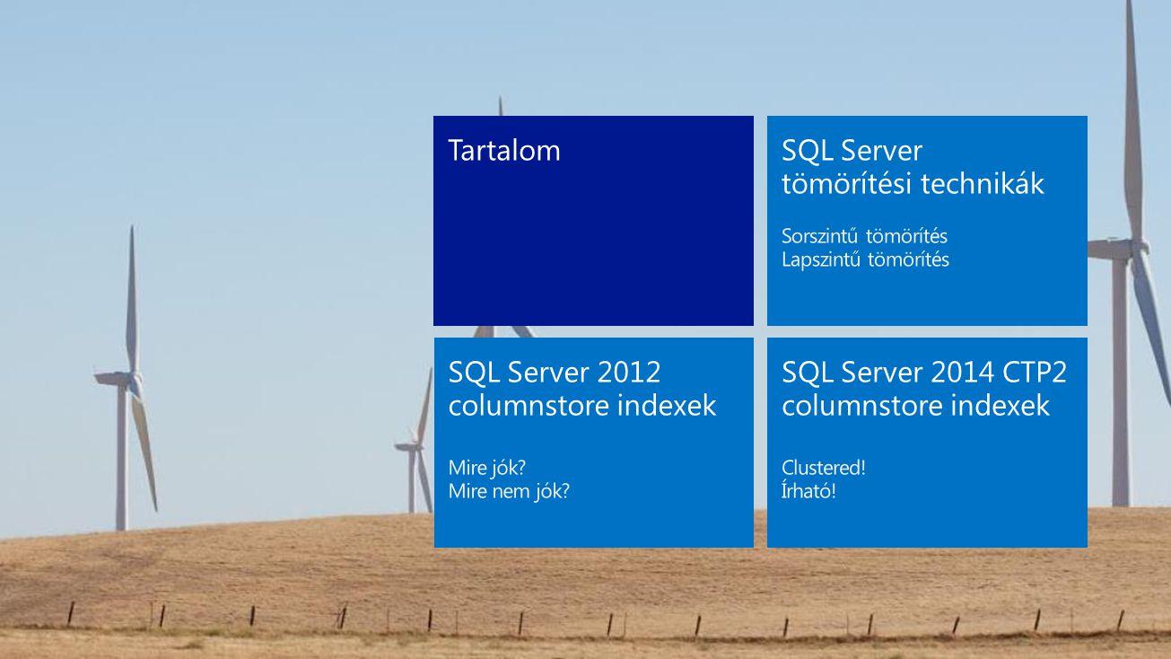 SQL Server tömörítési technikák Működési elv Sorszintű adattömörítés Lapszintű adattömörítés Pro és kontra
